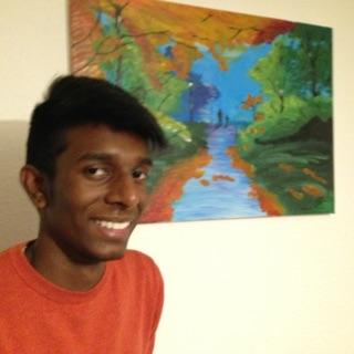 """Ranvir neben seinem Bild """"Herbst"""""""